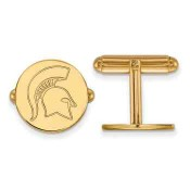 MSU Sterling Silver Yellow Gold Flash Plated Cufflinks