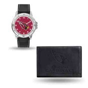 Men's Arizona Cardinals Black Faux Leather Watch & Wallet