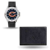 Men's Chicago Bears Black Faux Leather Watch & Wallet