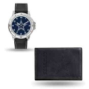 Men's Dallas Cowboys Black Faux Leather Watch & Wallet