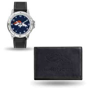 Men's Denver Broncos Black Faux Leather Watch & Wallet
