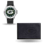 Men's Green Bay Packers Black Faux Leather Watch & Wallet
