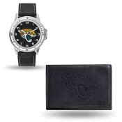 Men's Jacksonville Jaguars Black Faux Leather Watch & Wallet