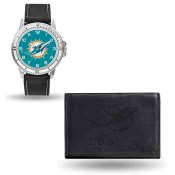 Men's Miami Dolphins Black Faux Leather Watch & Wallet