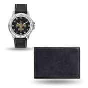 Men's New Orleans Saints Black Faux Leather Watch & Wallet