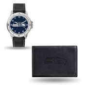 Men's Seattle Seahawks Black Faux Leather Watch & Wallet