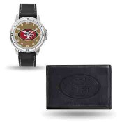 Men's San Francisco 49ers Black Faux Leather Watch & Wallet