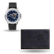 Men's Los Angeles Rams Black Faux Leather Watch & Wallet