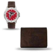 Men's Atlanta Falcons Brown Faux Leather Watch & Wallet