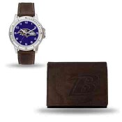 Men's Baltimore Ravens Brown Faux Leather Watch & Wallet