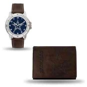 Men's Dallas Cowboys Brown Faux Leather Watch & Wallet