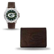 Men's Green Bay Packers Brown Faux Leather Watch & Wallet