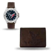 Men's Houston Texans Brown Faux Leather Watch & Wallet