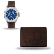 Men's Indiana Colts Brown Faux Leather Watch & Wallet