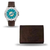 Men's Miami Dolphins Brown Faux Leather Watch & Wallet