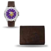 Men's Minnesota Vikings Brown Faux Leather Watch & Wallet
