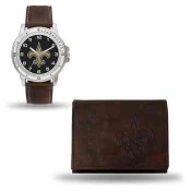 Men's New Orleans Saints Brown Faux Leather Watch & Wallet
