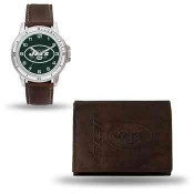 Men's New York Jets Brown Faux Leather Watch & Wallet