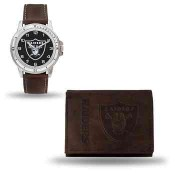 Men's Oakland Raiders Brown Faux Leather Watch & Wallet