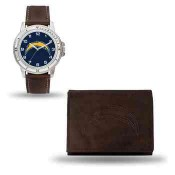 Men's San Diego Chargers Brown Faux Leather Watch & Wallet
