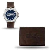 Men's Seattle Seahawks Brown Faux Leather Watch & Wallet