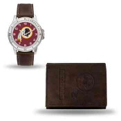 Men's Washington Redskins Brown Faux Leather Watch & Wallet
