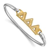 Tri Delta Sterling Silver Yellow Gold Flash Plated Bangle