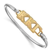 KKG Sterling Silver Yellow Gold Flash Plated Bangle