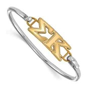 Sigma Kappa Sterling Silver Yellow Gold Flash Plated Bangle
