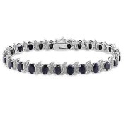 Black Sapphire and Diamond Accent S-Link Tennis Bracelet in Sterling Silver