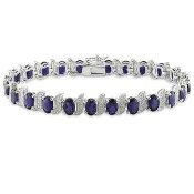 Created Blue Sapphire and Diamond Accent S-Link Tennis Bracelet in Sterling Silver