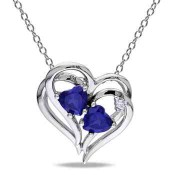 Created Blue Sapphire and Diamond Accent Heart Necklace in Sterling Silver