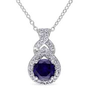 Created Blue and White Sapphire Teardrop Twist Pendant Necklace in Sterling Silver