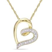 Diamond Accent Heart Necklace in 10k Yellow Gold