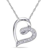 Diamond Accent Heart Necklace in 10k White Gold