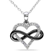1/10 CT. T.W. Diamond Heart Infinity Pendant Necklace in White & Black Flash Plated Sterling Silver