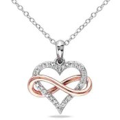 1/10 CT. T.W. Diamond Heart Infinity Necklace in White & Rose Gold Flash Plated Sterling Silver