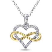 1/10 CT. T.W. Diamond Heart Infinity Necklace in White & Yellow Gold Flash Plated Sterling Silver