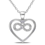 Infinity Heart Diamond Accent Pendant Necklace in Sterling Silver