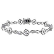 1/2 CT. T.W. Diamond Swirly Bracelet in Sterling Silver