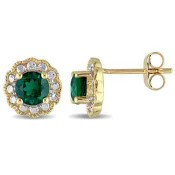 Created Emerald Flower Halo Stud Earrings in 10K Yellow and White Gold