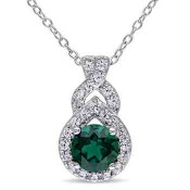 Created Emerald and White Sapphire Teardrop Twist Pendant Necklace in Sterling Silver