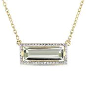 Green Amethyst and White Sapphire Pendant Necklace in Gold Flash Plated Sterling Silver