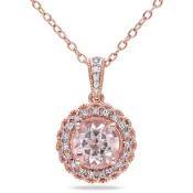 Morganite and 1/10 CT. T.W. Diamond Halo Pendant Necklace in Rose Gold Flash Plated Sterling Silver