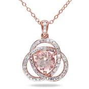 Morganite and 1/10 CT. T.W. Diamond Orbit Pendant Necklace in Rose Gold Flash Plated Sterling Silver