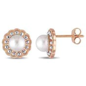 6mm Cultured Freshwater Pearl Flower Halo Stud Earrings in 10K Rose and White Gold
