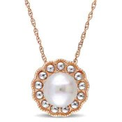 7mm Cultured Freshwater Pearl Flower Halo Pendant Necklace in 10k Rose and White Gold
