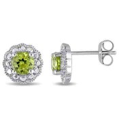 Peridot Flower Halo Stud Earrings in 10K White Gold