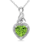 Peridot and Diamond Accent Heart Swirled Infinity Pendant in Sterling Silver