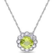 Peridot Flower Halo Pendant Necklace in 10k White Gold
